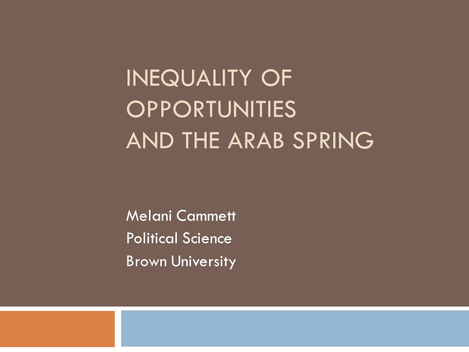 INEQUALITY OF OPPORTUNITIES AND THE ARAB SPRING Melani Cammett Political Science Brown University