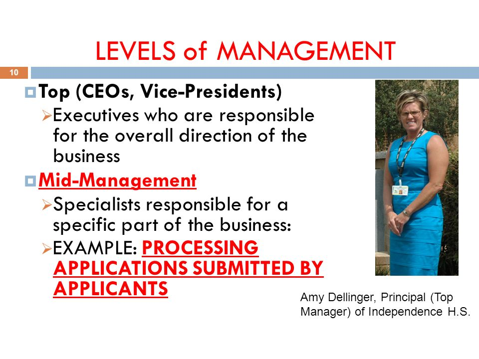LEVELS of MANAGEMENT 10  Top (CEOs, Vice-Presidents)  Executives who are responsible for the overall direction of the business  Mid-Management  Specialists responsible for a specific part of the business:  EXAMPLE: PROCESSING APPLICATIONS SUBMITTED BY APPLICANTS Amy Dellinger, Principal (Top Manager) of Independence H.S.