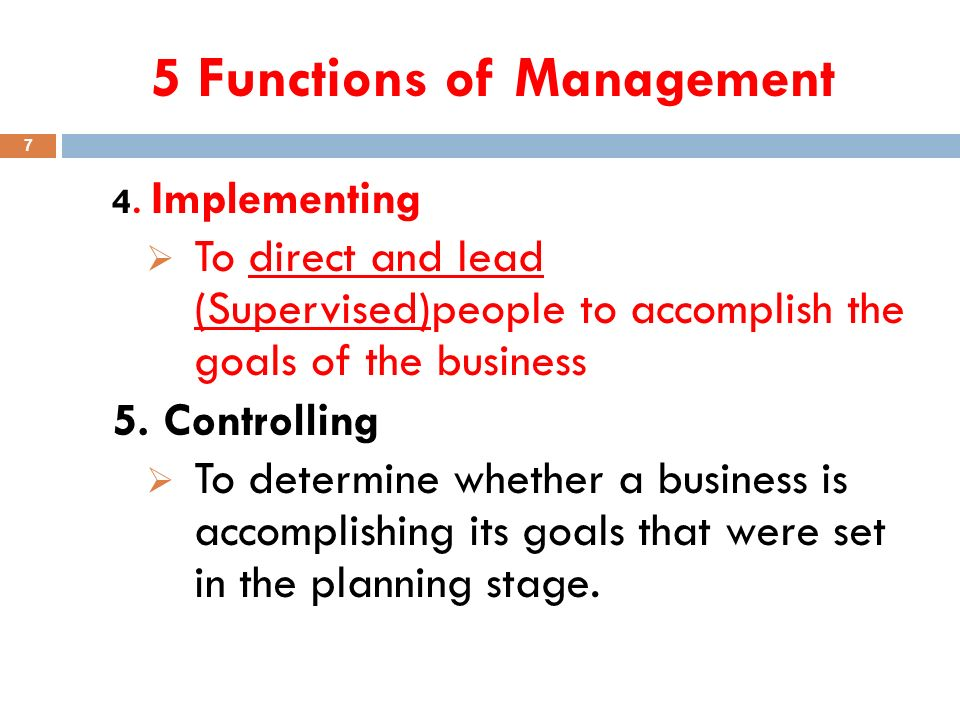 5 Functions of Management 7 4.