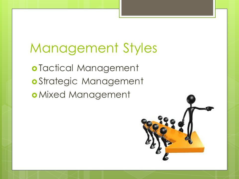 Management Styles  Tactical Management  Strategic Management  Mixed Management