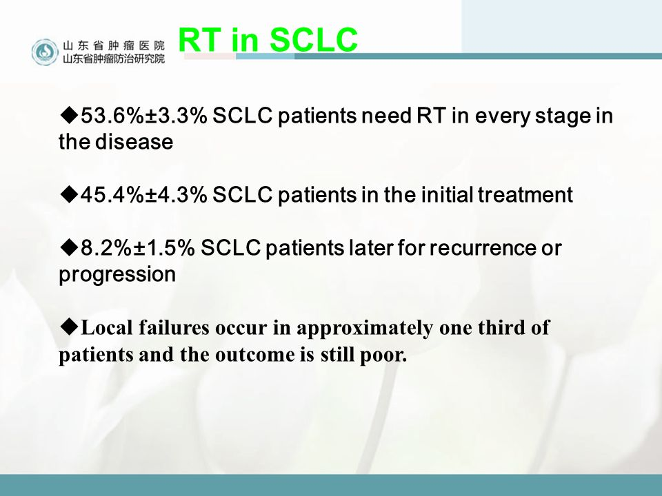 RT in SCLC  53.6%±3.3% SCLC patients need RT in every stage in the disease  45.4%±4.3% SCLC patients in the initial treatment  8.2%±1.5% SCLC patients later for recurrence or progression  Local failures occur in approximately one third of patients and the outcome is still poor.