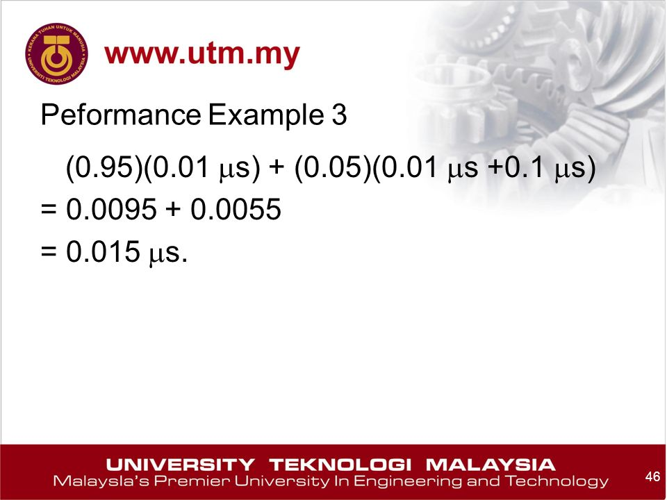 46 Peformance Example 3 (0.95)(0.01  s) + (0.05)(0.01  s +0.1  s) = =  s.