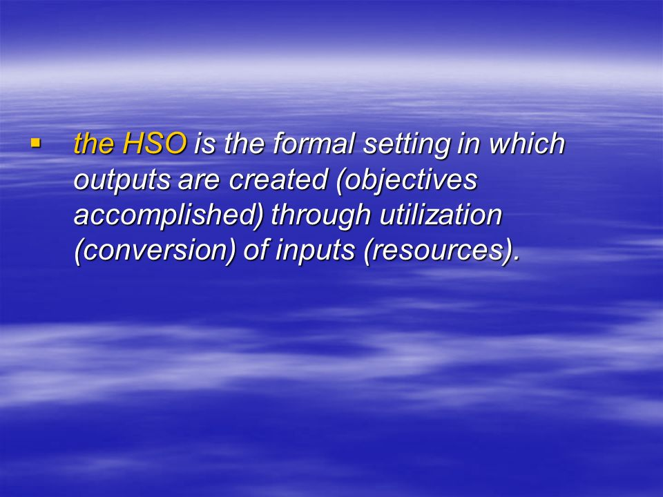  the HSO is the formal setting in which outputs are created (objectives accomplished) through utilization (conversion) of inputs (resources).