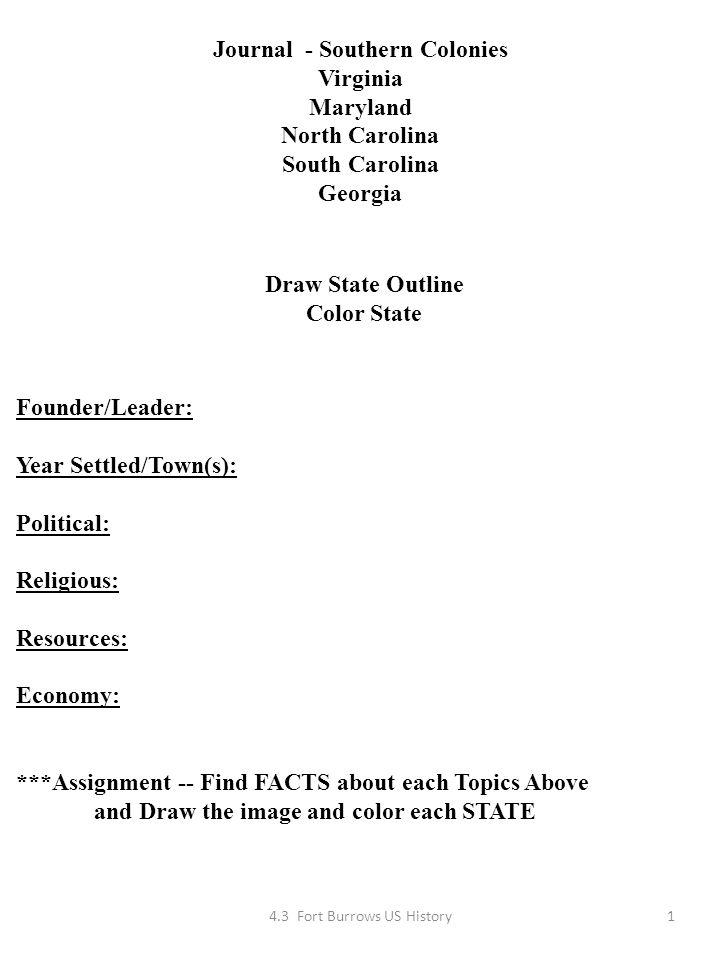Journal - Southern Colonies Virginia Maryland North Carolina South ...