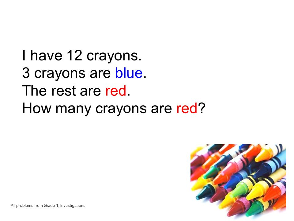 I have 12 crayons. 3 crayons are blue. The rest are red.