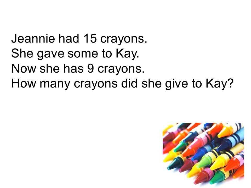 Jeannie had 15 crayons. She gave some to Kay. Now she has 9 crayons.