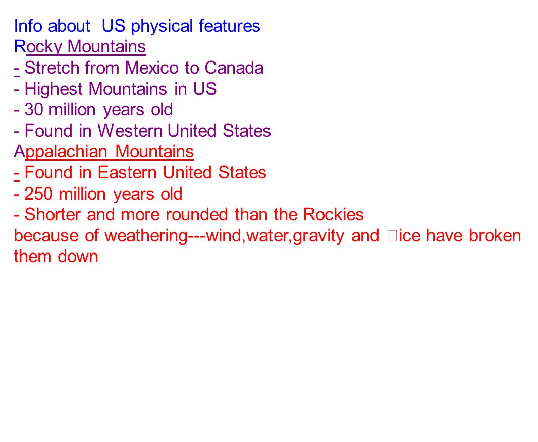 I Can Locate And Discuss The Important Details About Various - 8 physical features of the united states