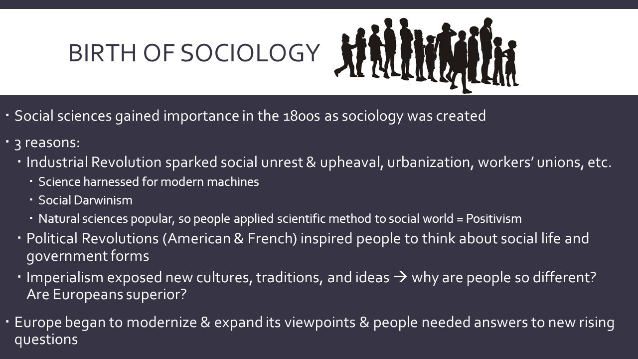 birth of sociology What social forces were at work that led to the emergence of sociology in the late 18 th and early 19 th century (2004) the emergence of sociology coincided with two.