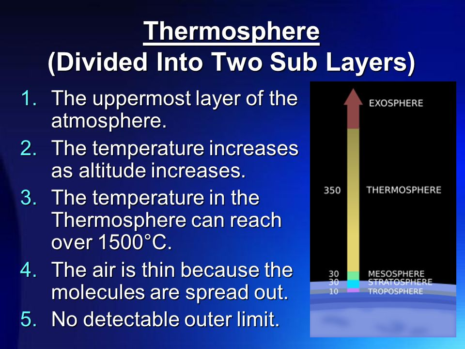 Thermosphere (Divided Into Two Sub Layers) 1.The uppermost layer of the atmosphere.