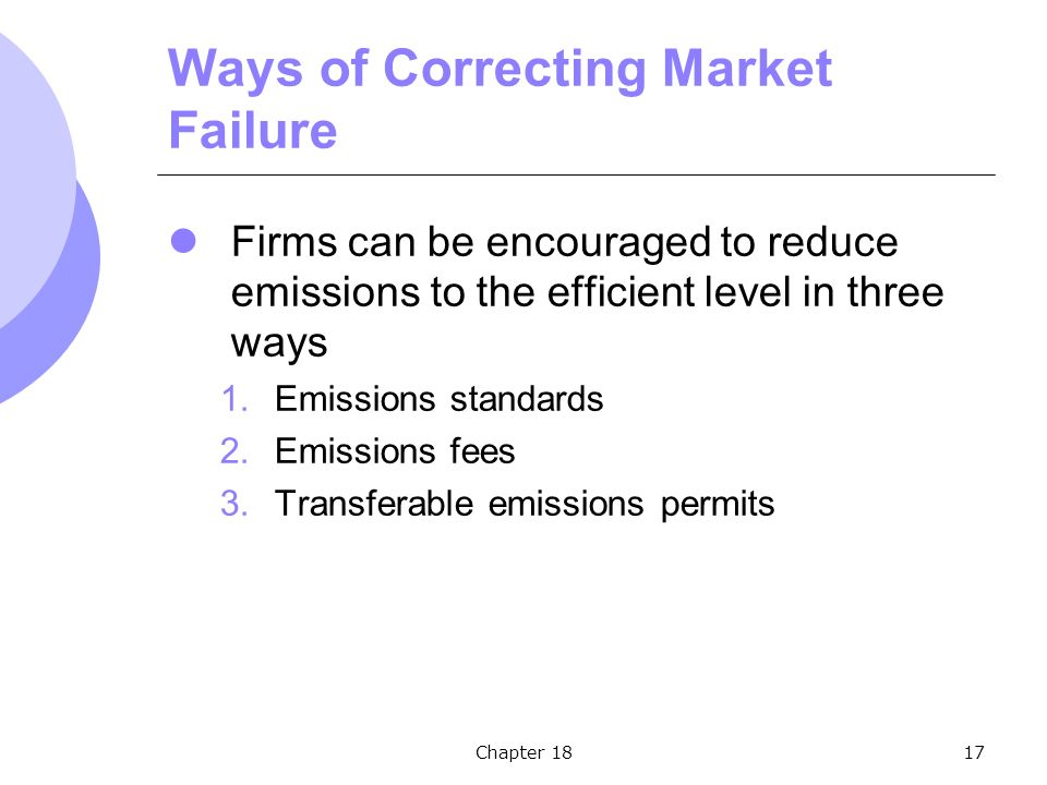 Chapter 1817 Ways of Correcting Market Failure Firms can be encouraged to reduce emissions to the efficient level in three ways 1.Emissions standards 2.Emissions fees 3.Transferable emissions permits