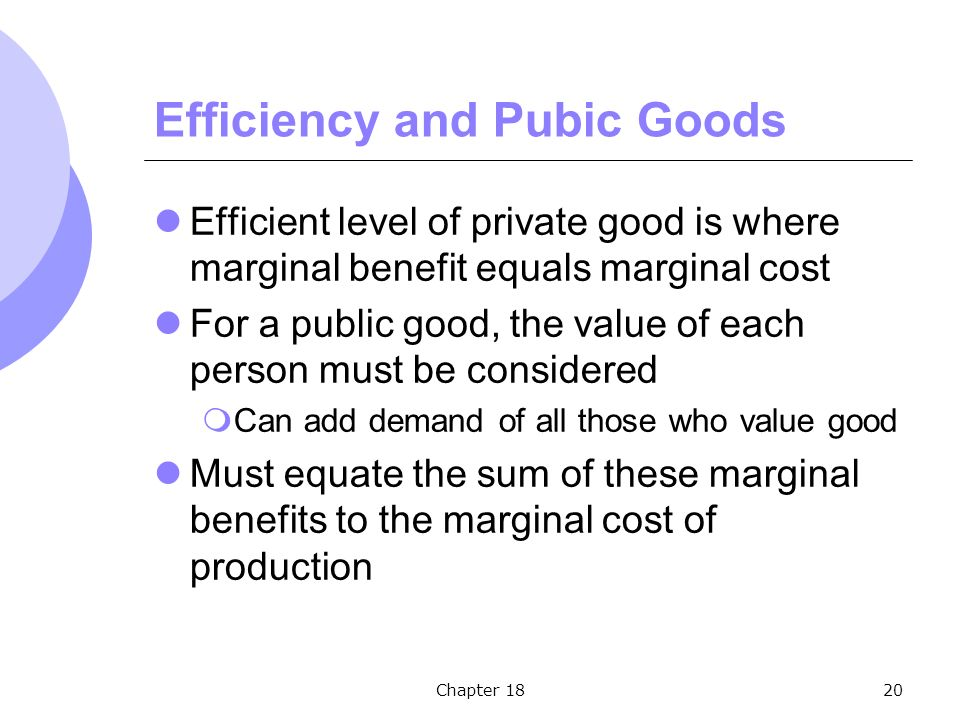 Chapter 1820 Efficiency and Pubic Goods Efficient level of private good is where marginal benefit equals marginal cost For a public good, the value of each person must be considered  Can add demand of all those who value good Must equate the sum of these marginal benefits to the marginal cost of production