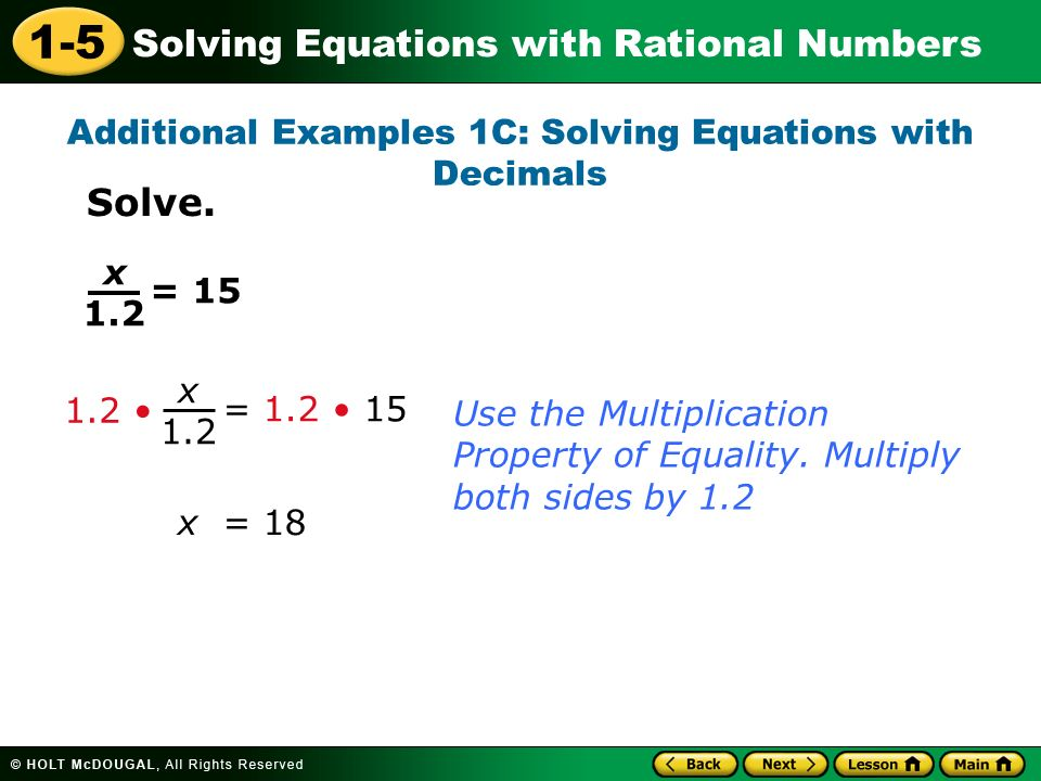 15 Solving Equations with Rational Numbers Warm Up Warm Up Lesson – Solving Equations with Rational Numbers Worksheet