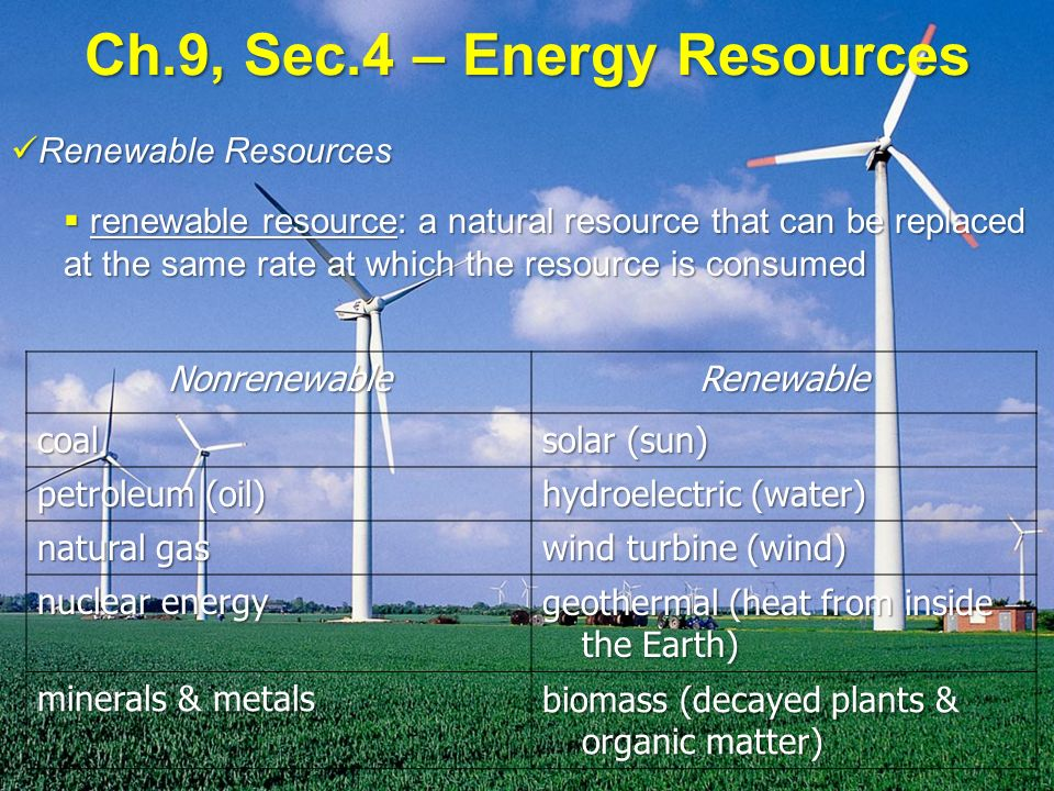 Ch.9, Sec.4 – Energy Resources Renewable Resources Renewable Resources  renewable resource: a natural resource that can be replaced at the same rate at which the resource is consumed NonrenewableRenewable coal solar (sun) petroleum (oil) hydroelectric (water) natural gas wind turbine (wind) nuclear energy geothermal (heat from inside the Earth) minerals & metals biomass (decayed plants & organic matter)