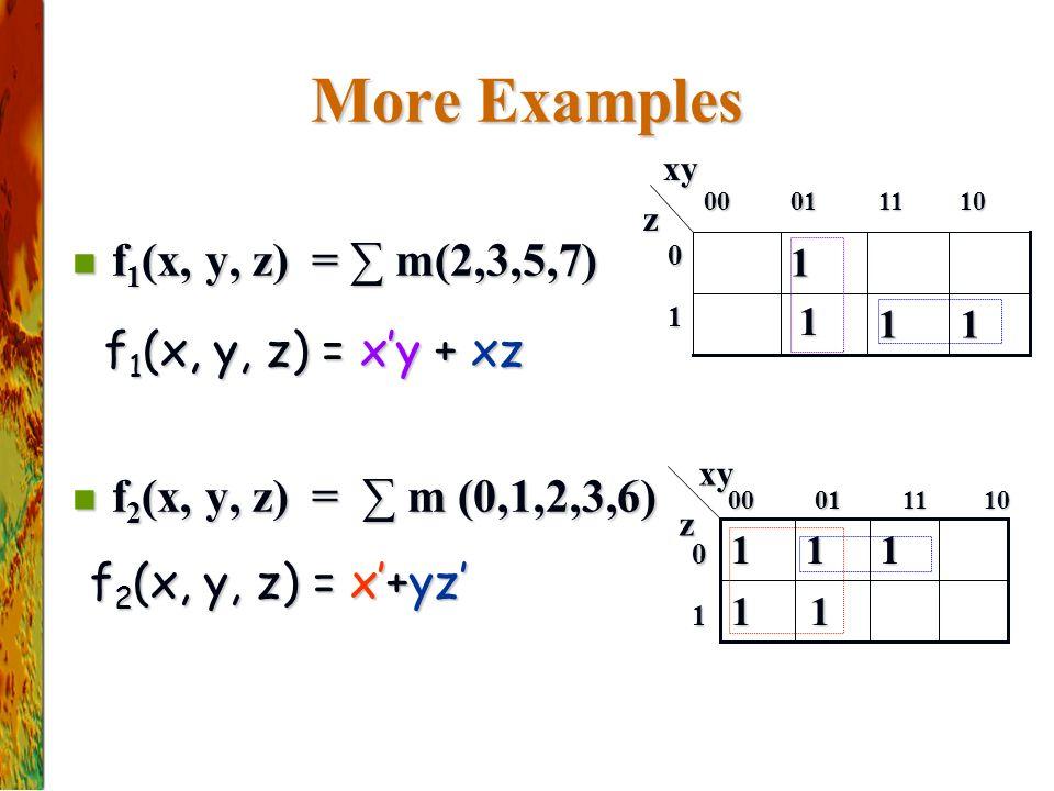 More Examples f 1 (x, y, z) = ∑ m(2,3,5,7) f 1 (x, y, z) = ∑ m(2,3,5,7) f 2 (x, y, z) = ∑ m (0,1,2,3,6) f 2 (x, y, z) = ∑ m (0,1,2,3,6) f 1 (x, y, z) = x'y + xz f 1 (x, y, z) = x'y + xz f 2 (x, y, z) = x'+yz' 10110100 xy xyz 1 0 11 1 1 11 111 z 10110100 1 0