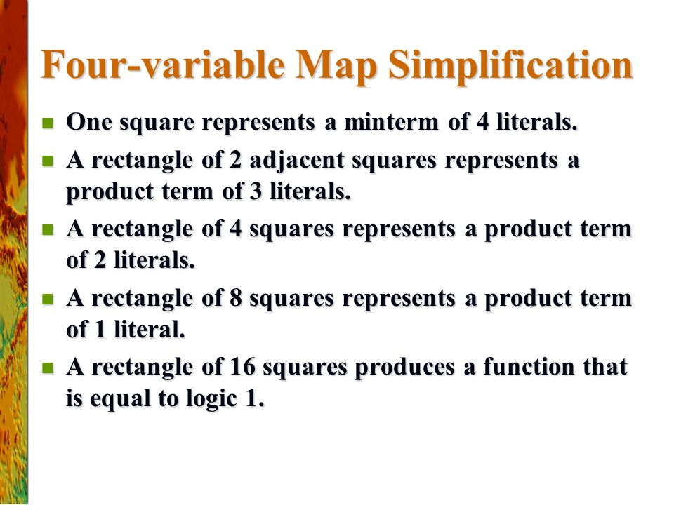 Four-variable Map Simplification One square represents a minterm of 4 literals.