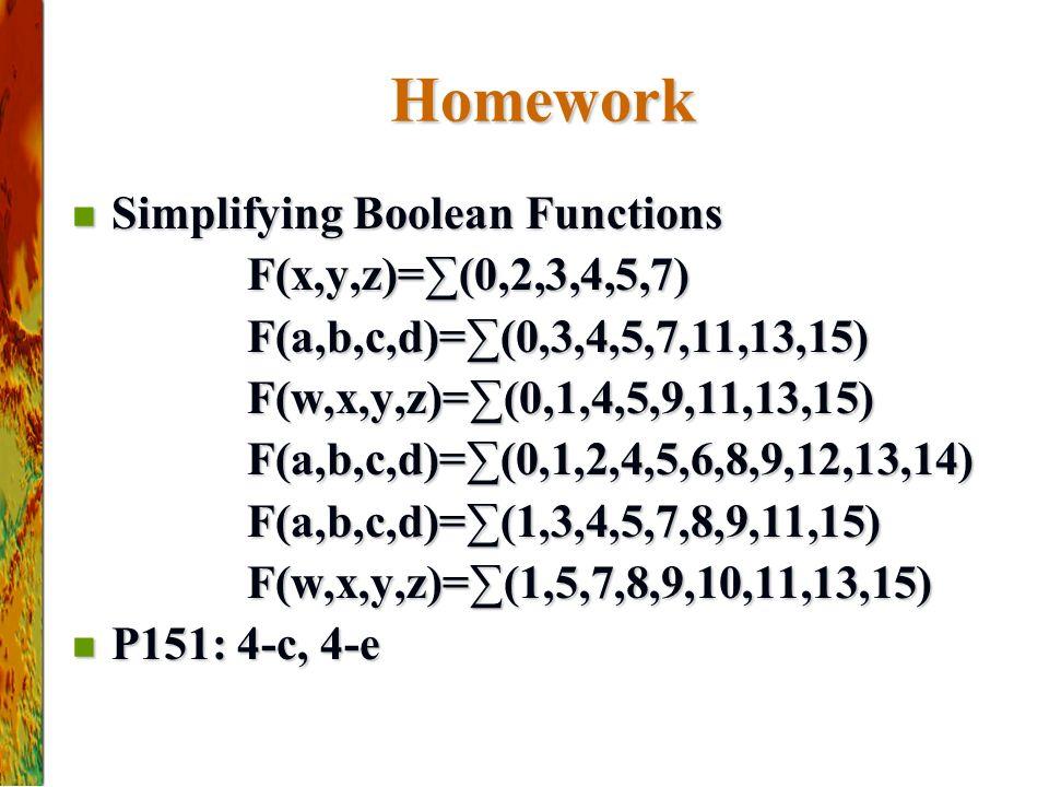 Homework Simplifying Boolean Functions Simplifying Boolean Functions F(x,y,z)=∑(0,2,3,4,5,7) F(x,y,z)=∑(0,2,3,4,5,7) F(a,b,c,d)=∑(0,3,4,5,7,11,13,15) F(a,b,c,d)=∑(0,3,4,5,7,11,13,15) F(w,x,y,z)=∑(0,1,4,5,9,11,13,15) F(w,x,y,z)=∑(0,1,4,5,9,11,13,15) F(a,b,c,d)=∑(0,1,2,4,5,6,8,9,12,13,14) F(a,b,c,d)=∑(0,1,2,4,5,6,8,9,12,13,14) F(a,b,c,d)=∑(1,3,4,5,7,8,9,11,15) F(a,b,c,d)=∑(1,3,4,5,7,8,9,11,15) F(w,x,y,z)=∑(1,5,7,8,9,10,11,13,15) F(w,x,y,z)=∑(1,5,7,8,9,10,11,13,15) P151: 4-c, 4-e P151: 4-c, 4-e