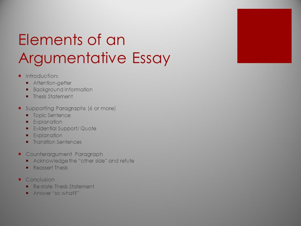argumentative writing elements of an argumentative essay  2 elements of an argumentative essay