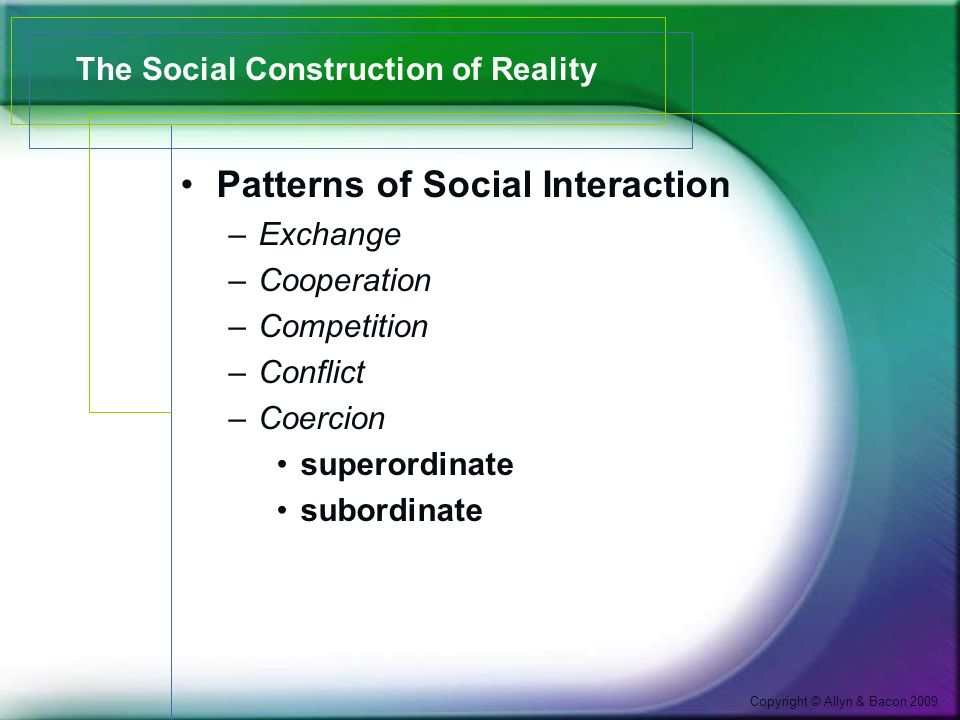 Copyright © Allyn & Bacon 2009 The Social Construction of Reality Patterns of Social Interaction –Exchange –Cooperation –Competition –Conflict –Coercion superordinate subordinate