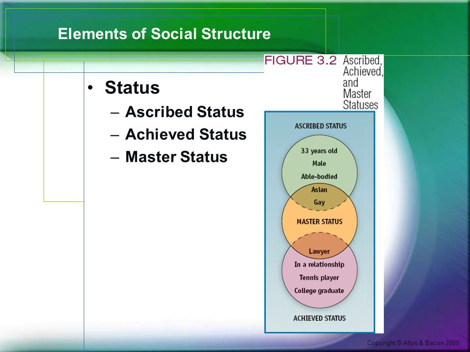 Copyright © Allyn & Bacon 2009 Elements of Social Structure Status –Ascribed Status –Achieved Status –Master Status