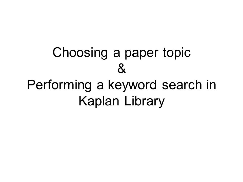 choosing keywords for research paper Choosing a topic, creating keywords and my 3rd graders will most likely stick to paper and pencil edutopia® and lucas education research™ are trademarks.