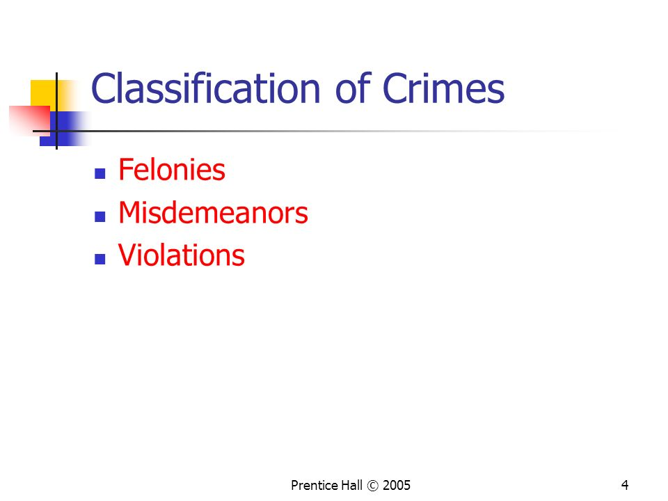 Prentice Hall © 20054 Classification of Crimes Felonies Misdemeanors Violations