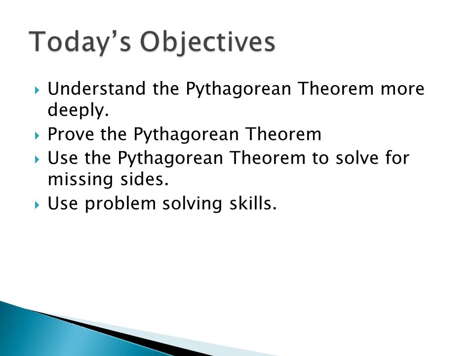 understanding the concept behind the pythagorean theorem 8g4 demonstrate an understanding of the pythagorean theorem an understanding of the concepts and apply formulas about the reasoning behind the.