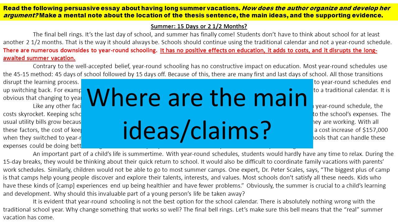 persuasive essay against year round schooling