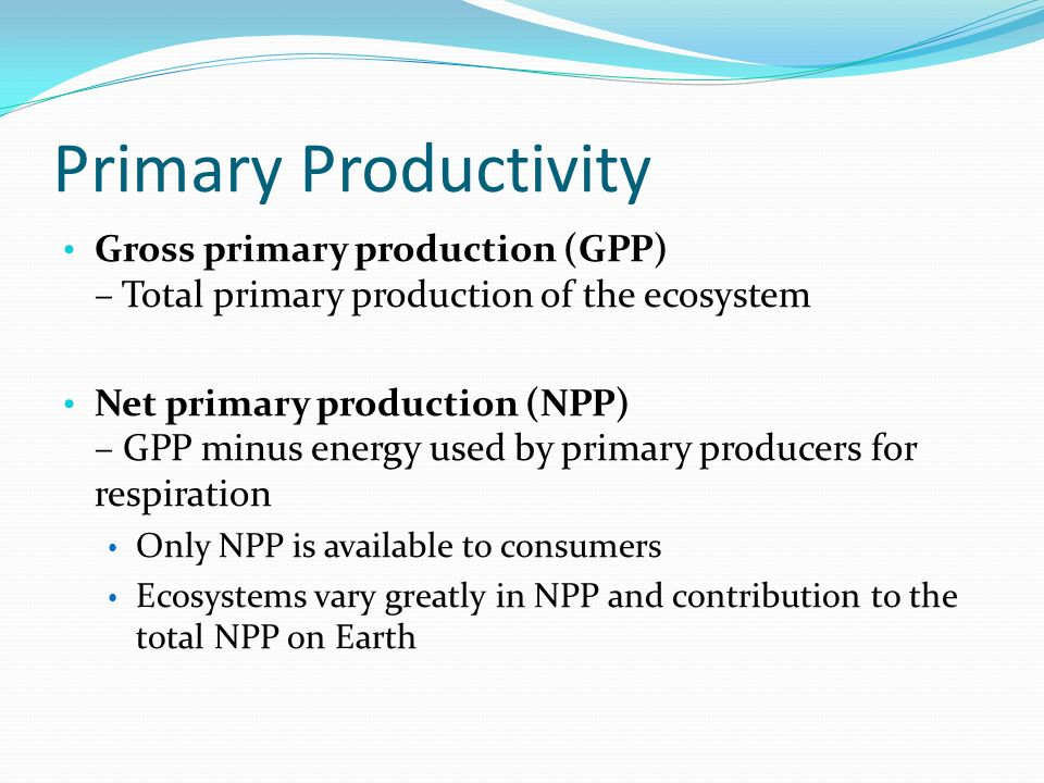 Primary Productivity Gross primary production (GPP) – Total primary production of the ecosystem Net primary production (NPP) – GPP minus energy used by primary producers for respiration Only NPP is available to consumers Ecosystems vary greatly in NPP and contribution to the total NPP on Earth