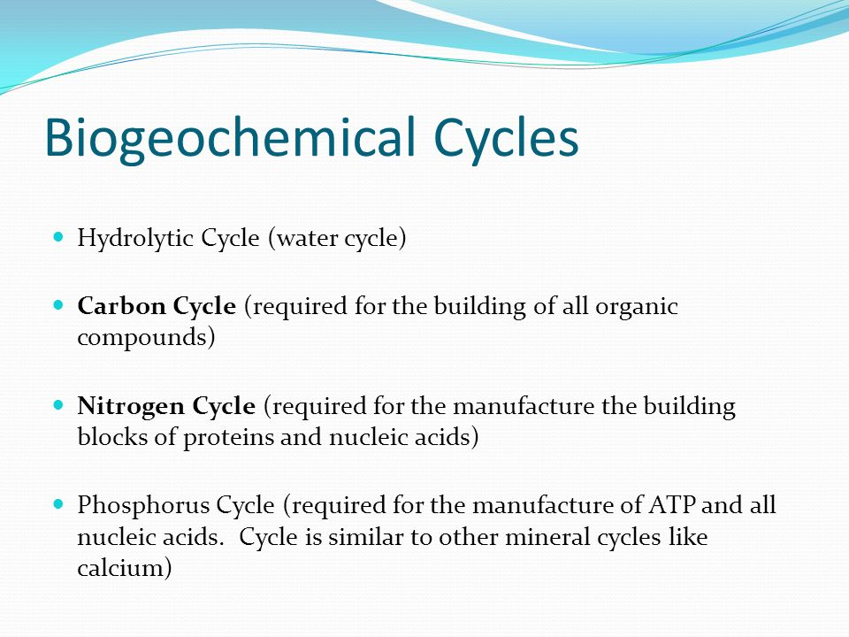 Biogeochemical Cycles Hydrolytic Cycle (water cycle) Carbon Cycle (required for the building of all organic compounds) Nitrogen Cycle (required for the manufacture the building blocks of proteins and nucleic acids) Phosphorus Cycle (required for the manufacture of ATP and all nucleic acids.