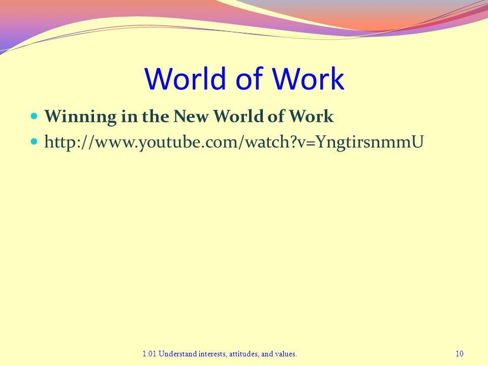 World of Work Winning in the New World of Work http://www.youtube.com/watch?v=YngtirsnmmU 1.01 Understand interests, attitudes, and values.10