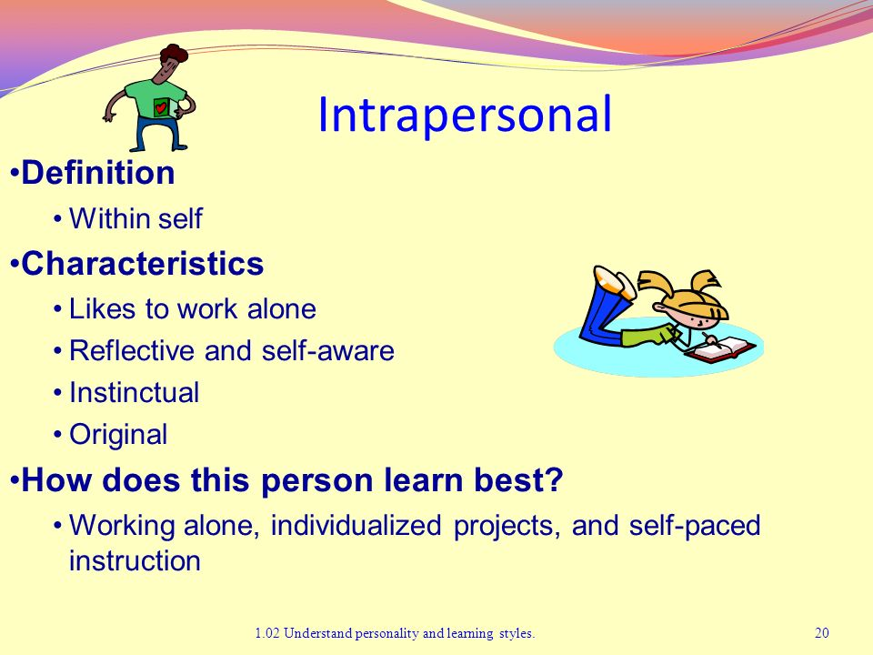 Intrapersonal 1.02 Understand personality and learning styles.20 Definition Within self Characteristics Likes to work alone Reflective and self-aware