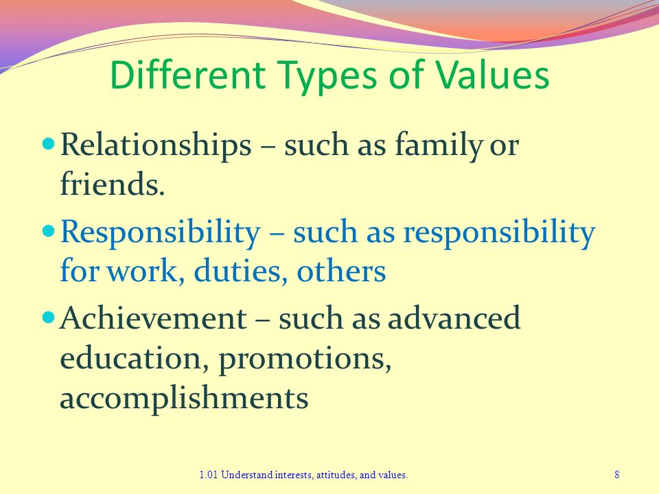 Different Types of Values Relationships – such as family or friends. Responsibility – such as responsibility for work, duties, others Achievement – su