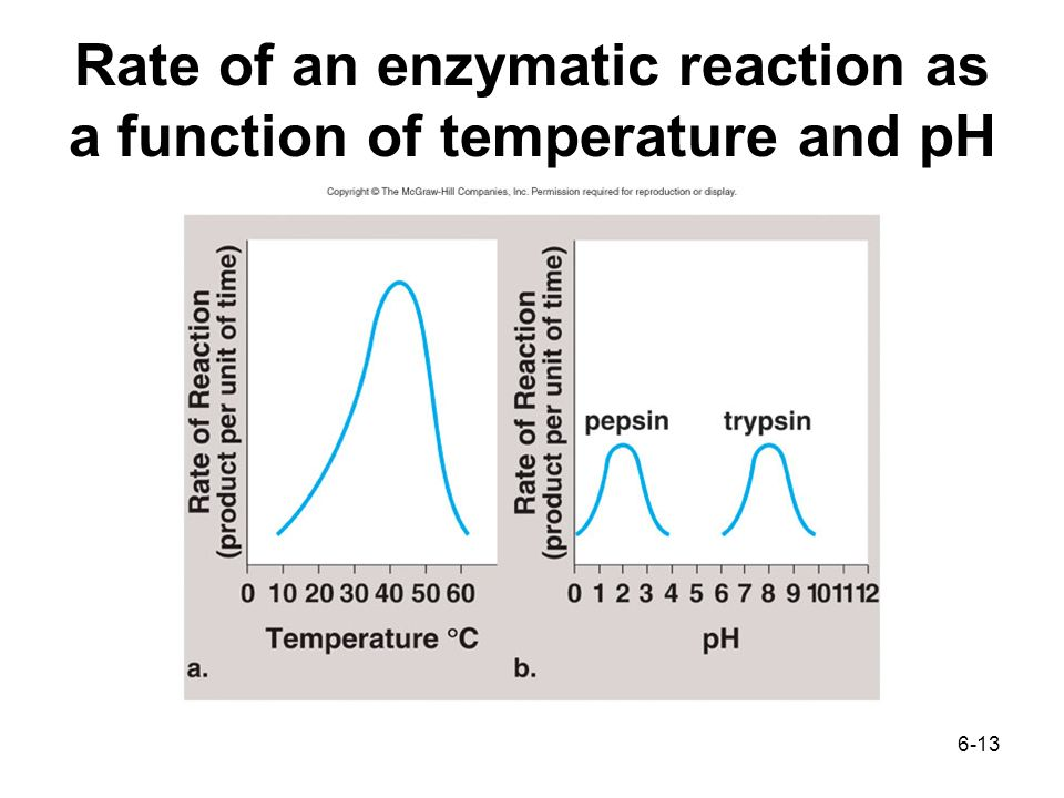 6-13 Rate of an enzymatic reaction as a function of temperature and pH