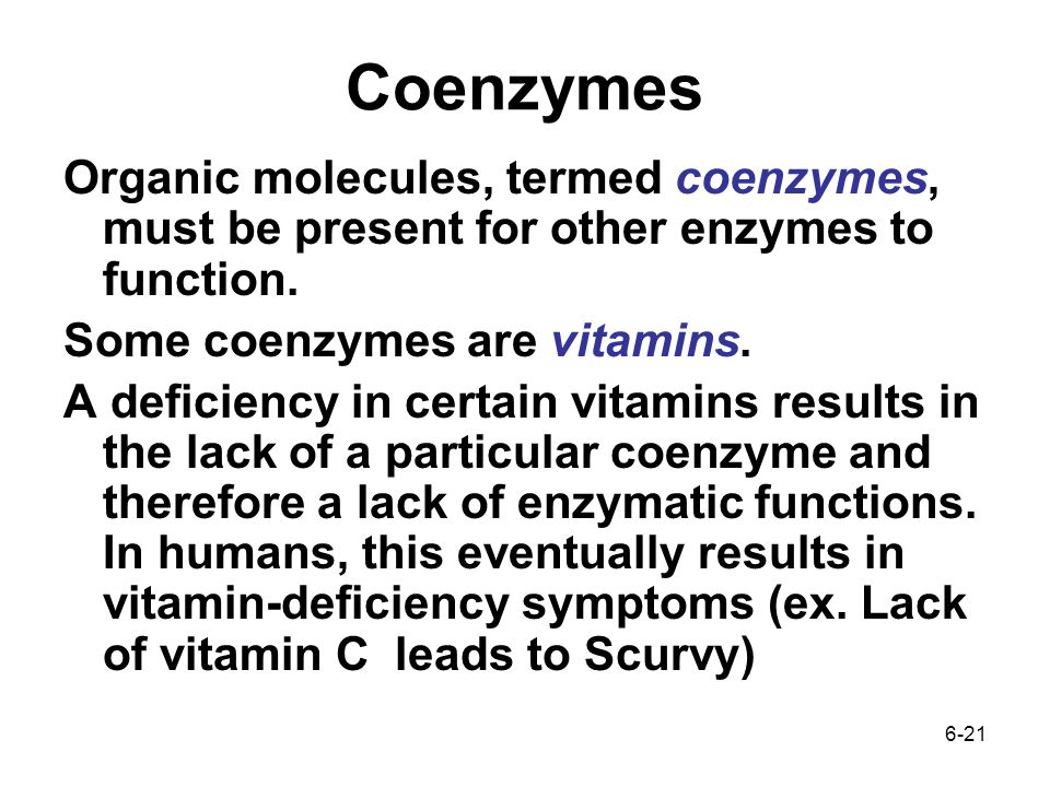 6-21 Coenzymes Organic molecules, termed coenzymes, must be present for other enzymes to function.