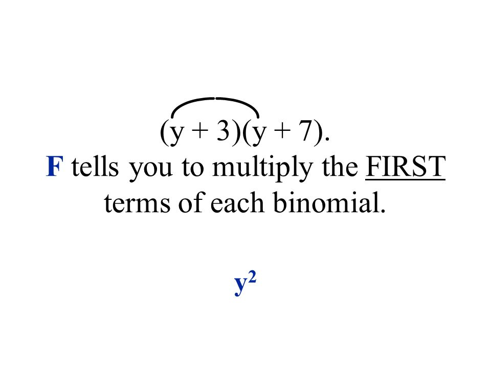 (y + 3)(y + 7). F tells you to multiply the FIRST terms of each binomial. y2y2