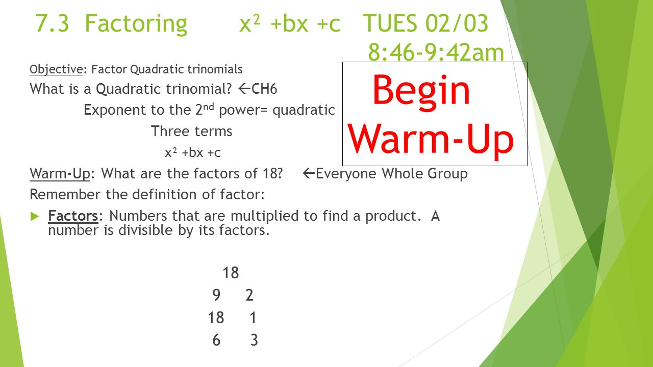 worksheet Factoring X2 Bx C Worksheet chapter 7 factoring methods ms fisher 3 bx c tues 0203 846 9