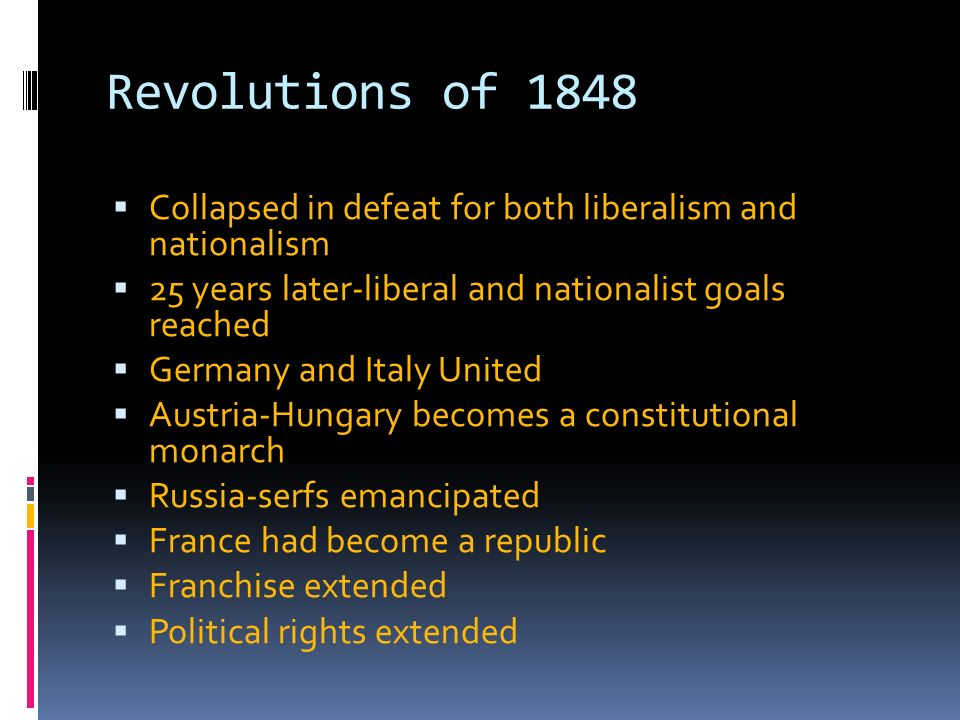 an overview of the revolutions of 1848 from a political and economic perspective The communist manifesto was first published on the eve of the revolutions which rocked europe in 1848 it was meant as a statement of purpose for marx's newly formed communist league and its straightforward, even prophetic, tone is that of a man confidently explaining to a confused world the reasons for a tumult which had not yet.