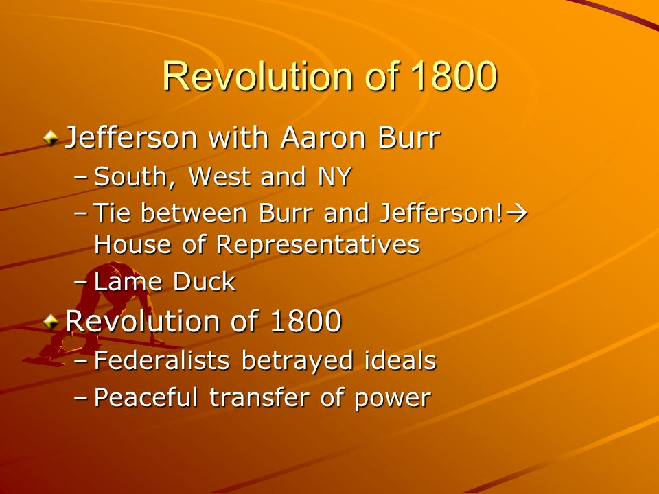 revolution of 1800 Thomas jefferson called his election the revolution of 1800 because it marked the first time that power in america passed from one party to.