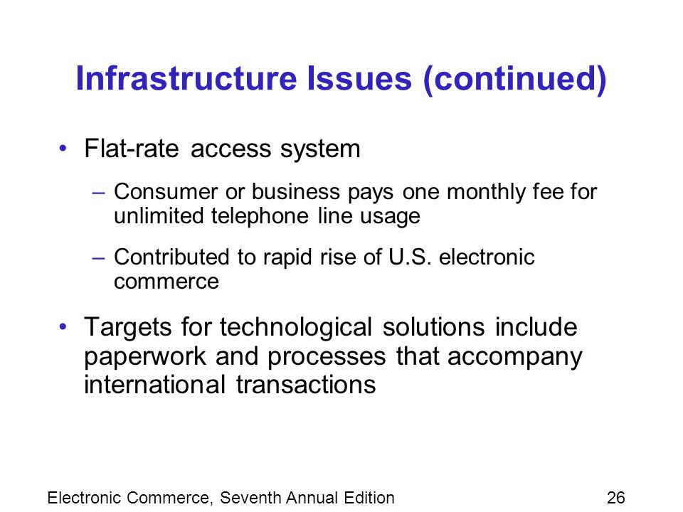 Electronic Commerce, Seventh Annual Edition26 Infrastructure Issues (continued) Flat-rate access system –Consumer or business pays one monthly fee for unlimited telephone line usage –Contributed to rapid rise of U.S.