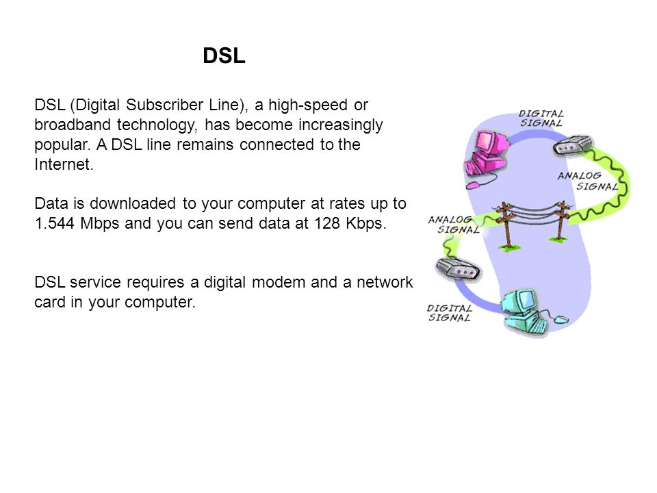 DSL DSL (Digital Subscriber Line), a high-speed or broadband technology, has become increasingly popular.