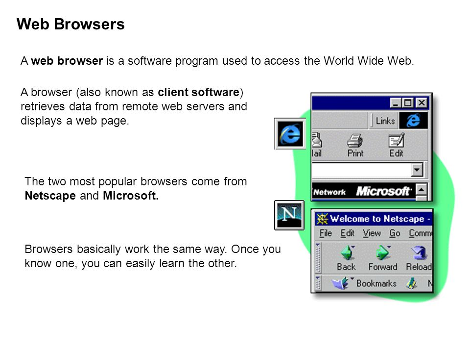 Web Browsers A web browser is a software program used to access the World Wide Web.