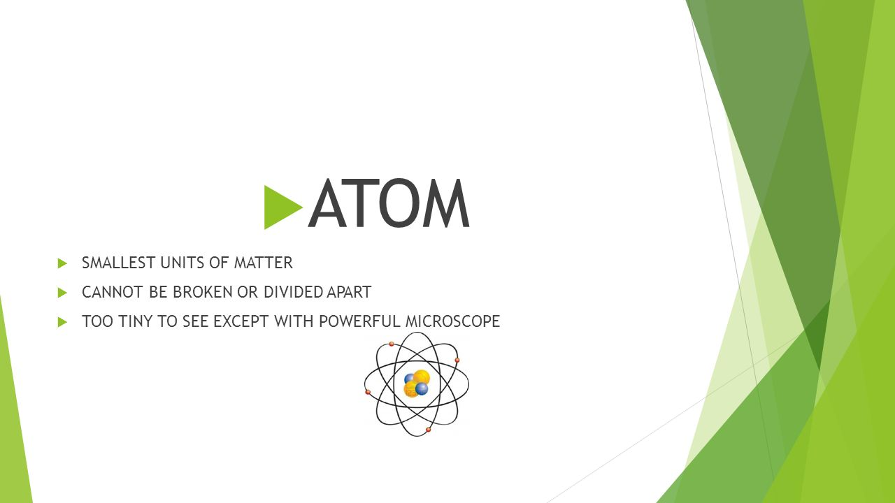  ATOM  SMALLEST UNITS OF MATTER  CANNOT BE BROKEN OR DIVIDED APART  TOO TINY TO SEE EXCEPT WITH POWERFUL MICROSCOPE