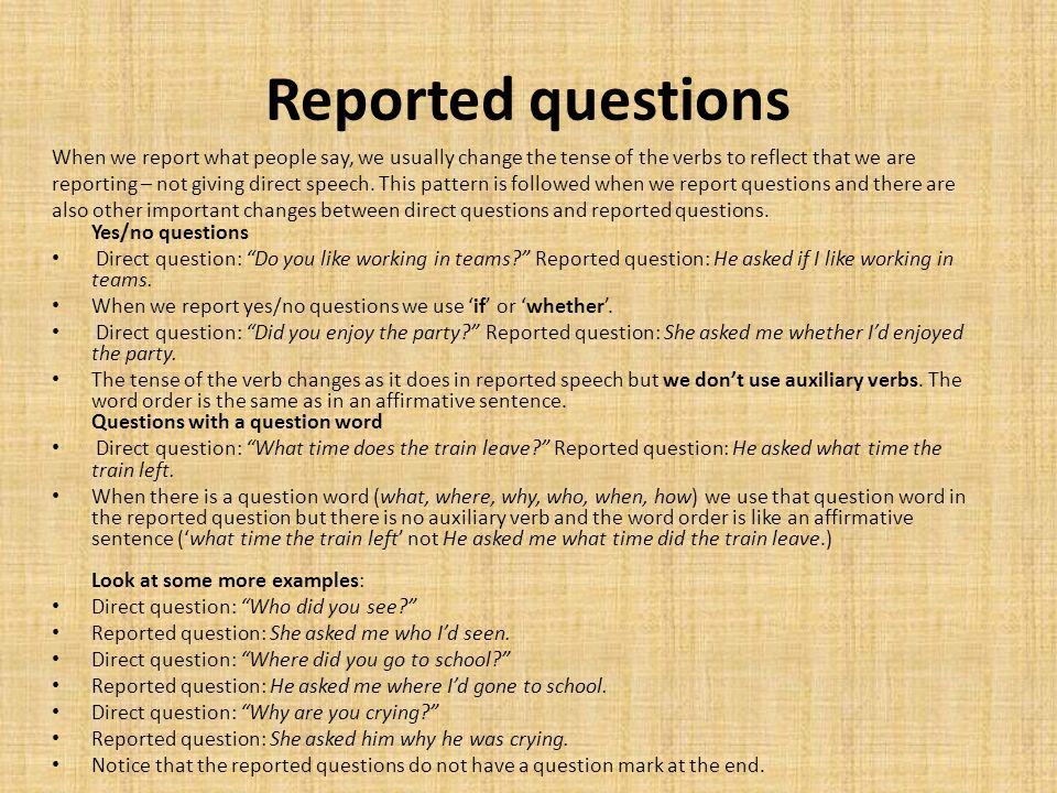 Resultado de imagen para reporting questions esl grammar