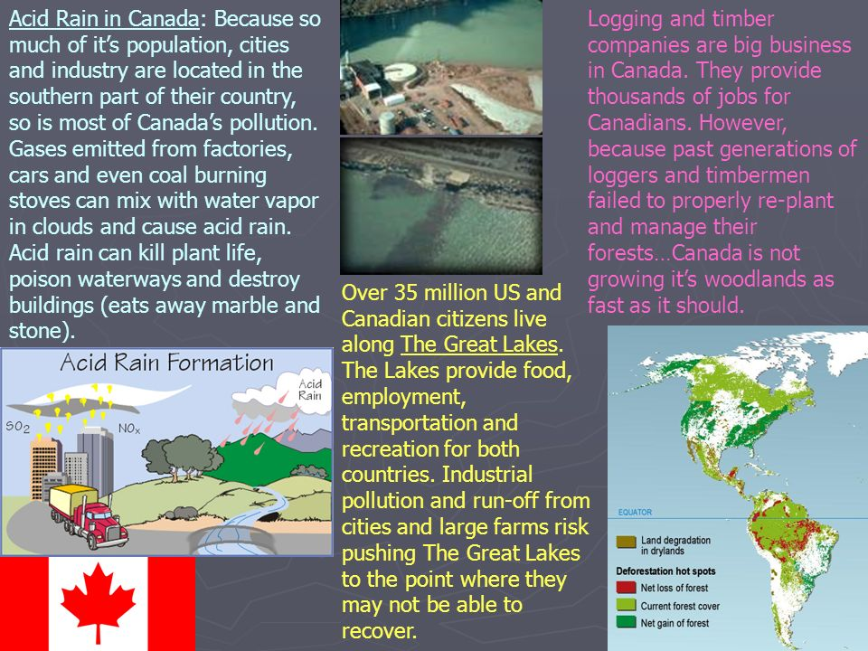 Acid Rain in Canada: Because so much of it's population, cities and industry are located in the southern part of their country, so is most of Canada's pollution.