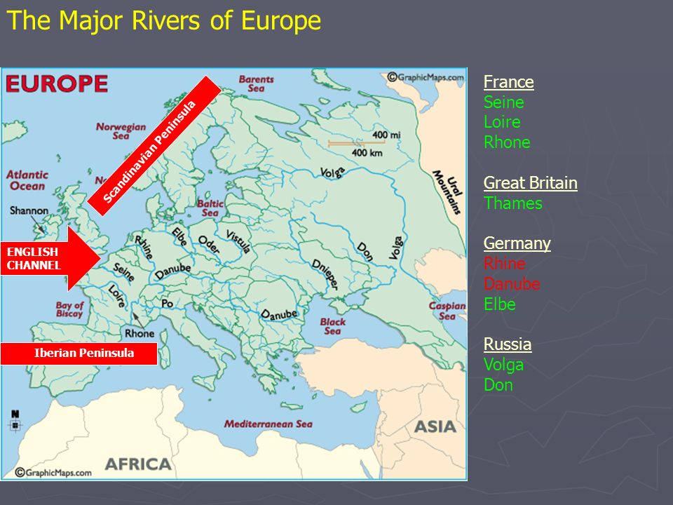 The Major Rivers of Europe France Seine Loire Rhone Great Britain Thames Germany Rhine Danube Elbe Russia Volga Don ENGLISH CHANNEL Scandinavian Peninsula Iberian Peninsula