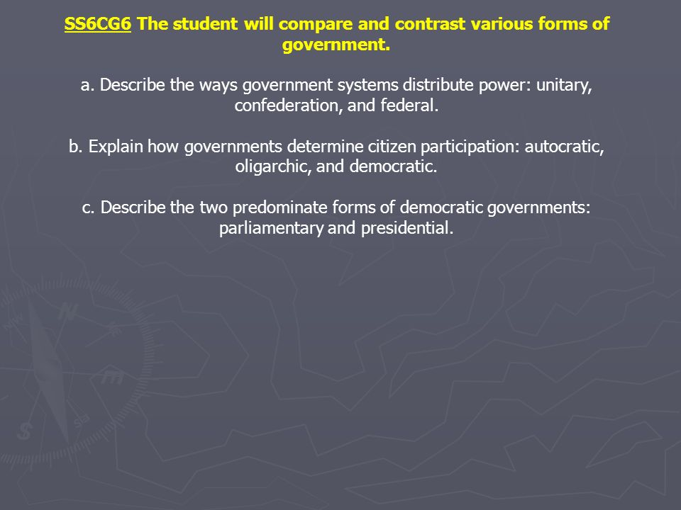 SS6CG6 The student will compare and contrast various forms of government.