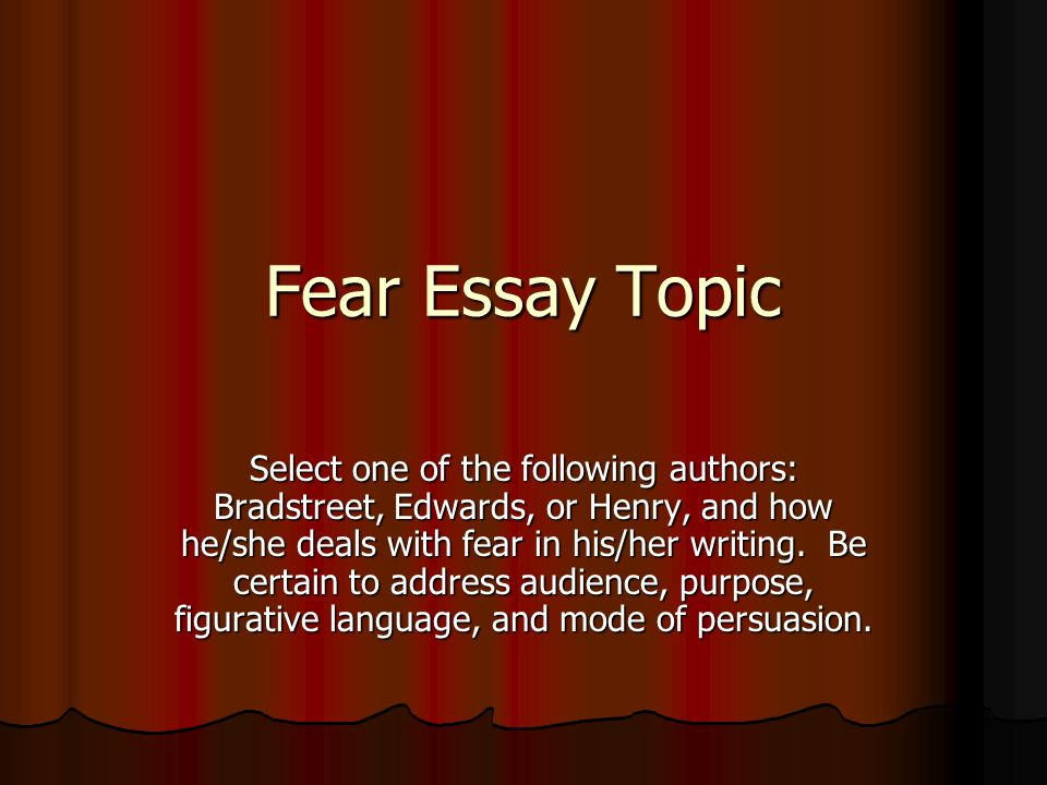 Definition Essay On Fear