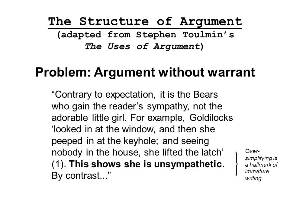 toulmin model of argument essay outline