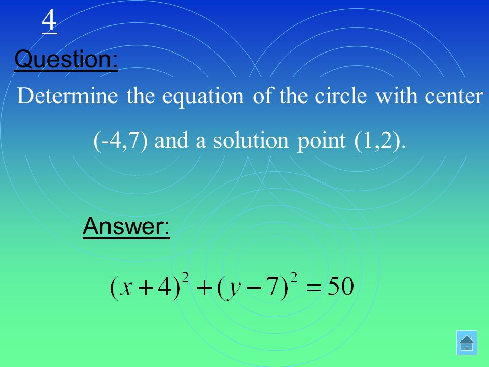 4 Determine the equation of the circle with center (-4,7) and a solution point (1,2).
