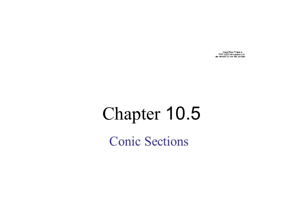Chapter 10.5 Conic Sections